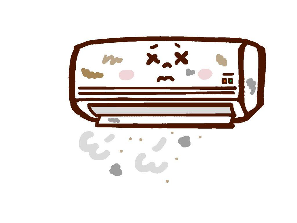 汚れたエアコンのイラスト