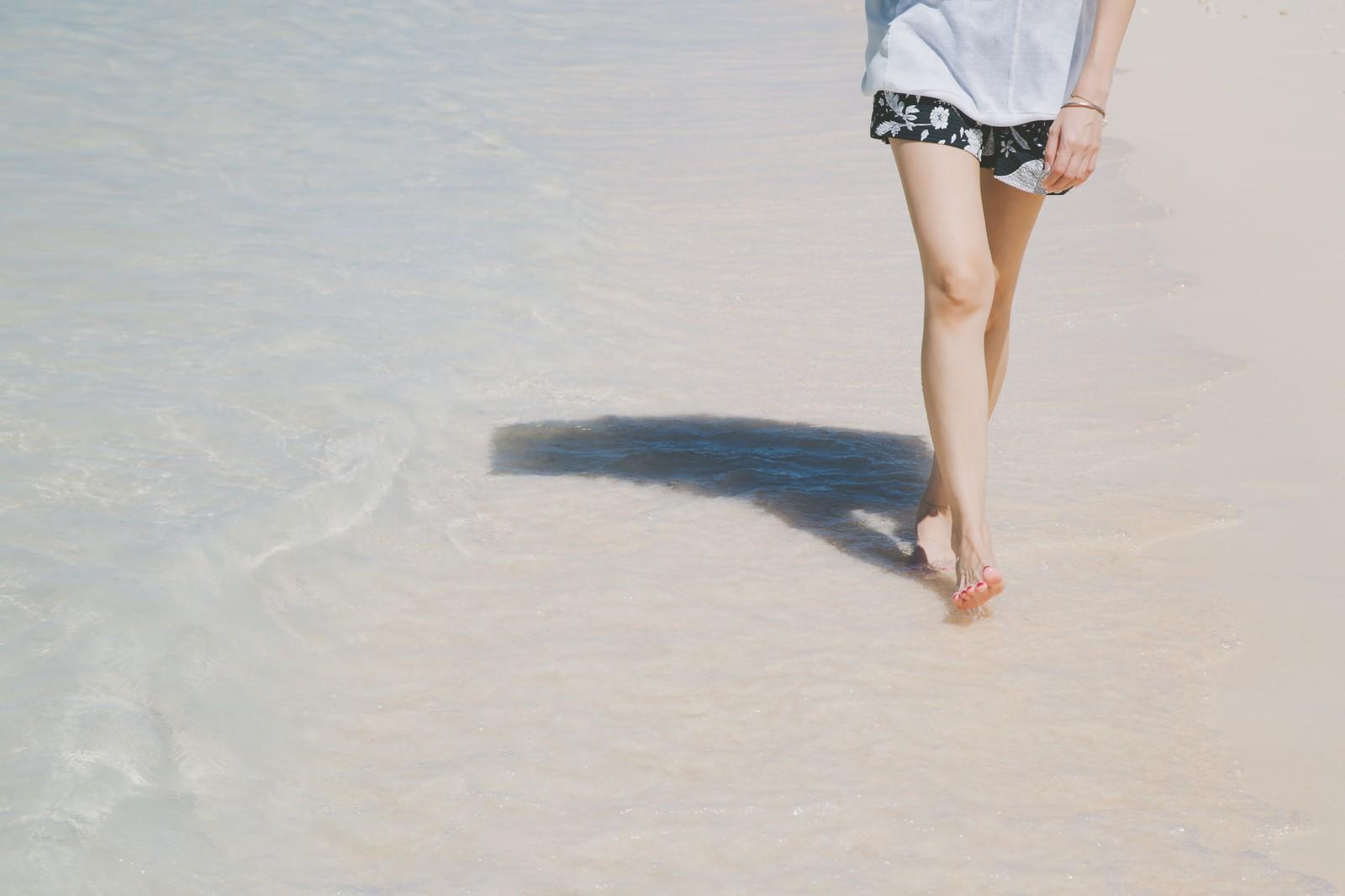 日差しの良い海辺を歩く