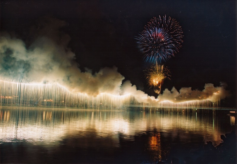 川内川花火のナイアガラ