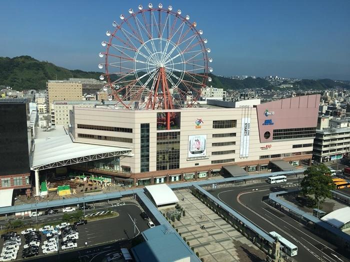 ホテルからみた朝の鹿児島中央駅