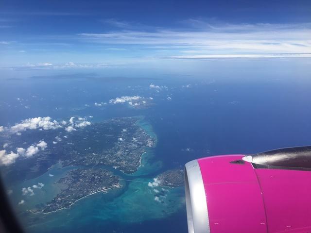 飛行機内からみた沖縄