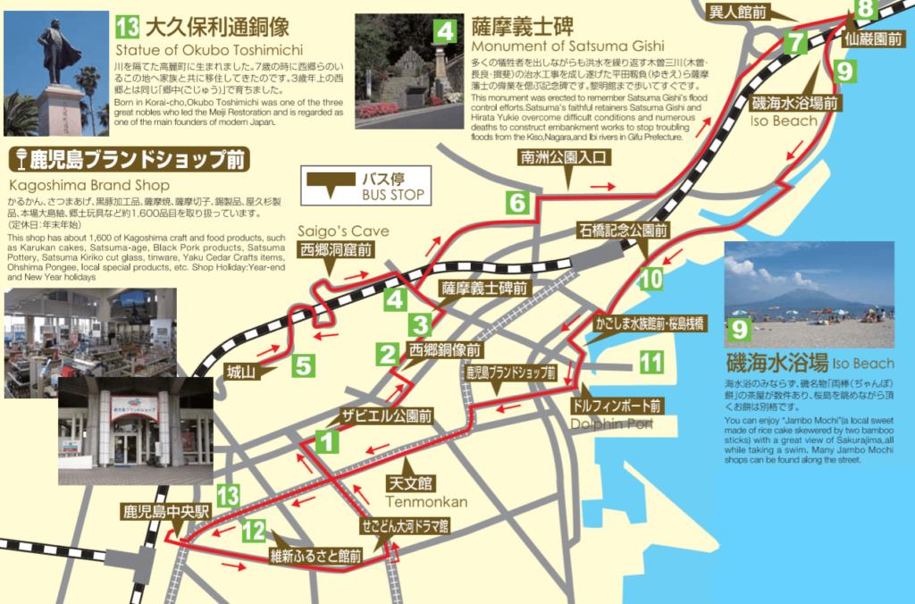 まち巡りバスのルートマップ
