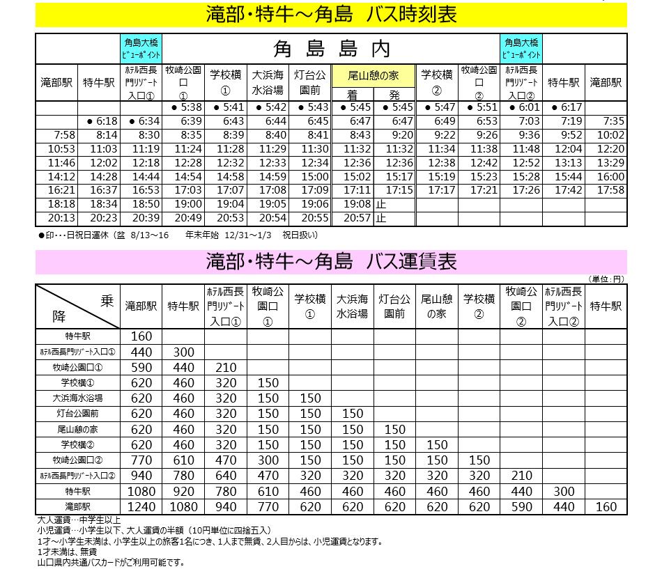 角島バスの時刻表