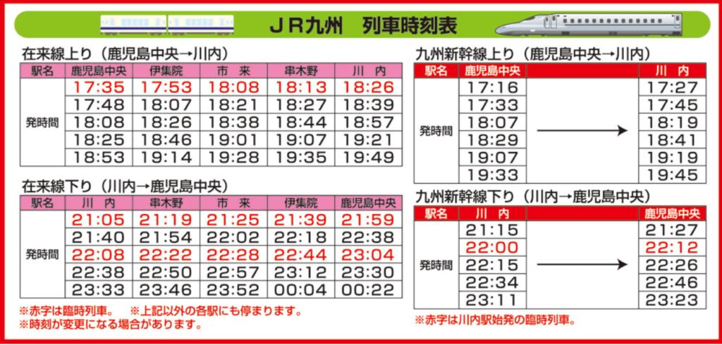川内川花火大会当日の臨時列車と時刻表