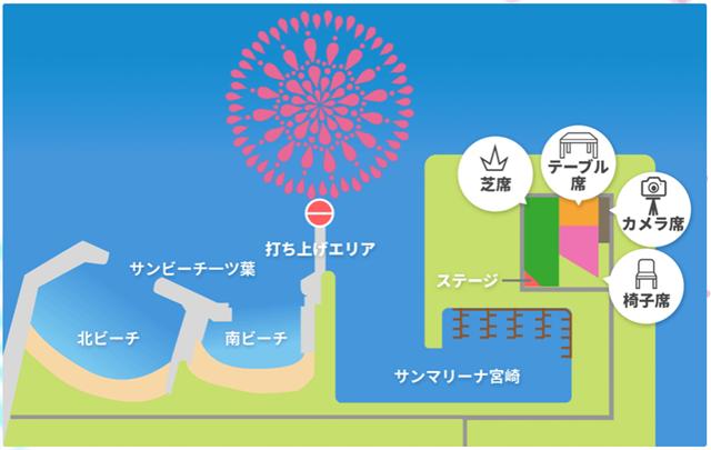 みやざきシーサイド芸術花火2018会場マップ