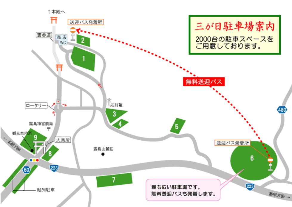 霧島神宮の臨時駐車場とシャトルバスマップ
