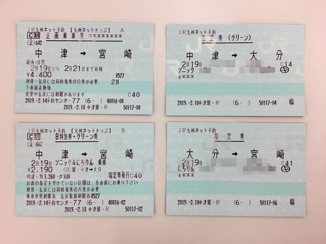 中津から宮崎までのJRきっぷ