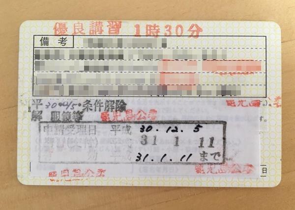 更新手続き後の運転免許証(裏書)