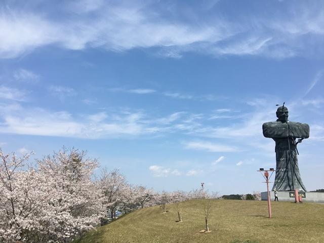 弥五郎どん像と桜